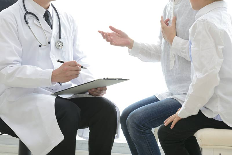 consulting with physician